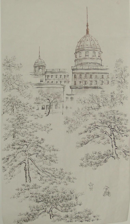长方体房子素描的画法步骤图